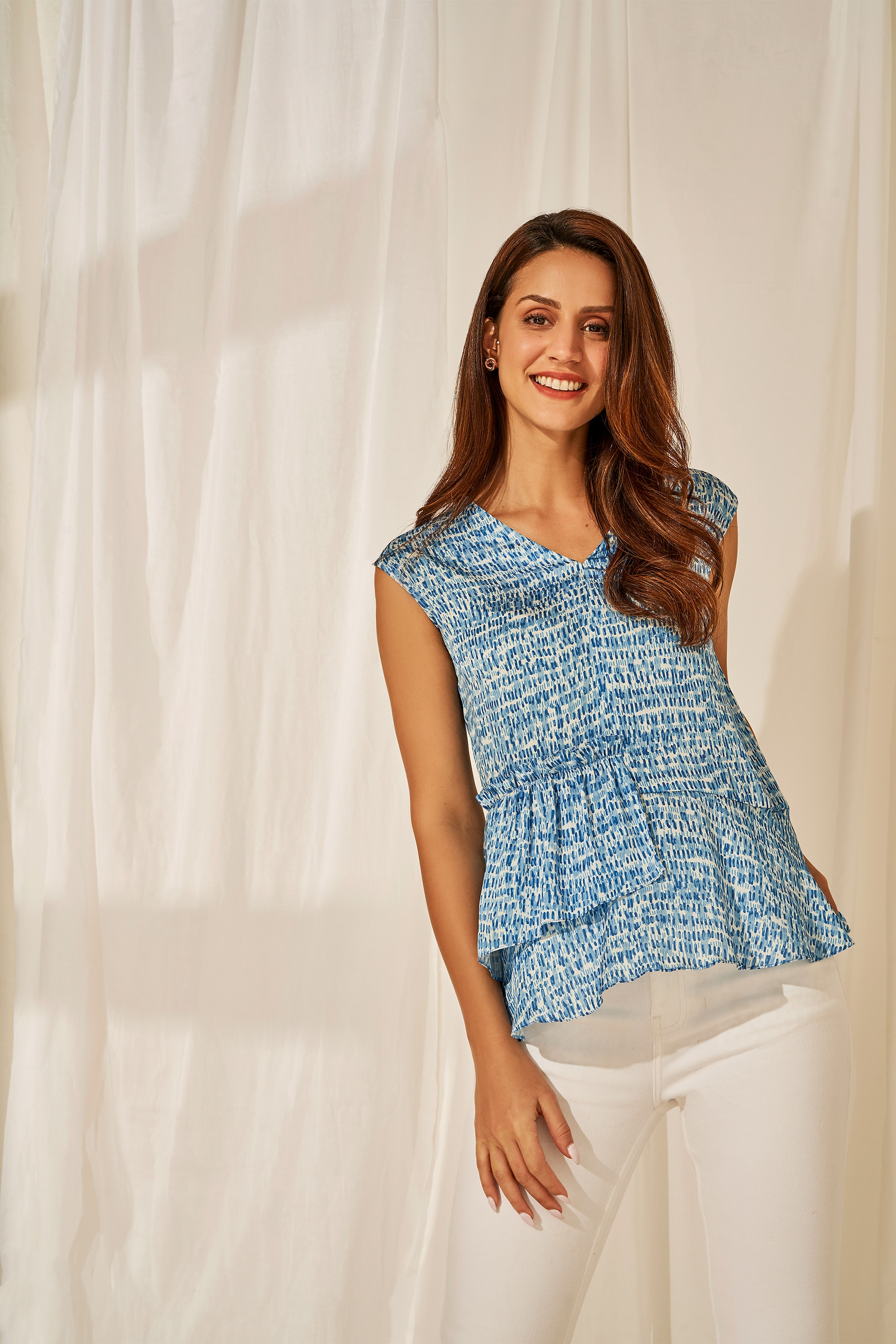 AND | Blue Abstract Printed Peplum Top