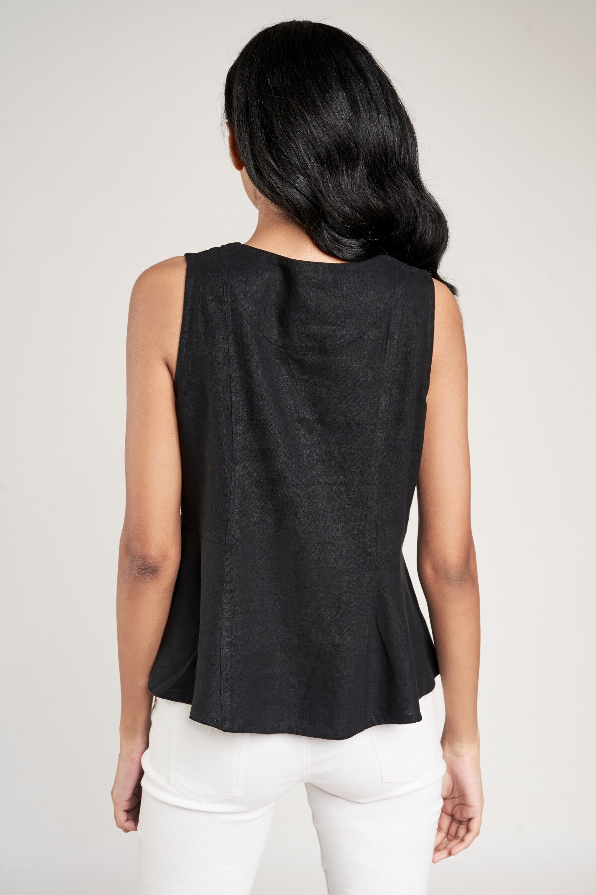 AND   Black Solid Fit And Flare Top