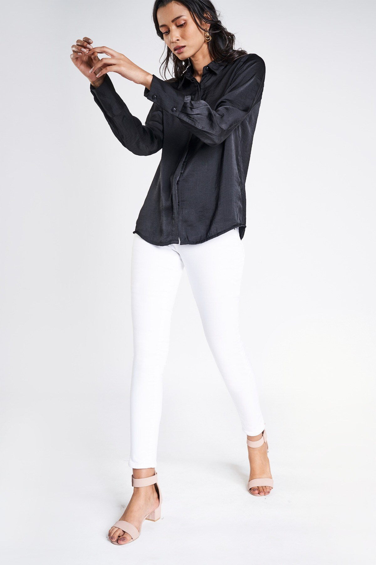 AND   Black Solid A-Line Top