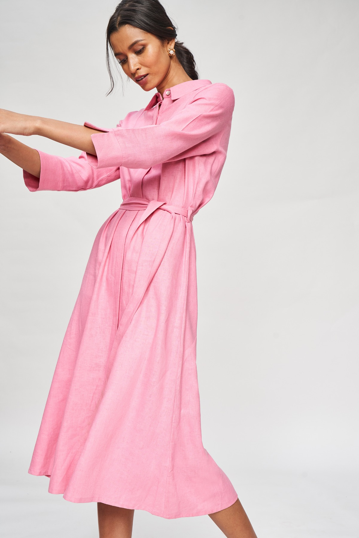 AND | Rose Wood Solid Shirters Dress