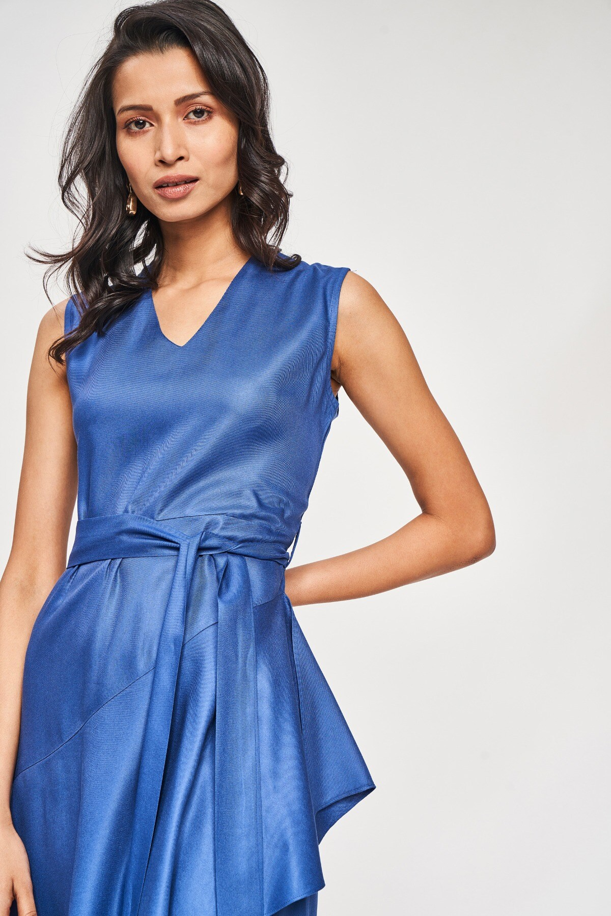 AND | Blue Solid A-Line Dress