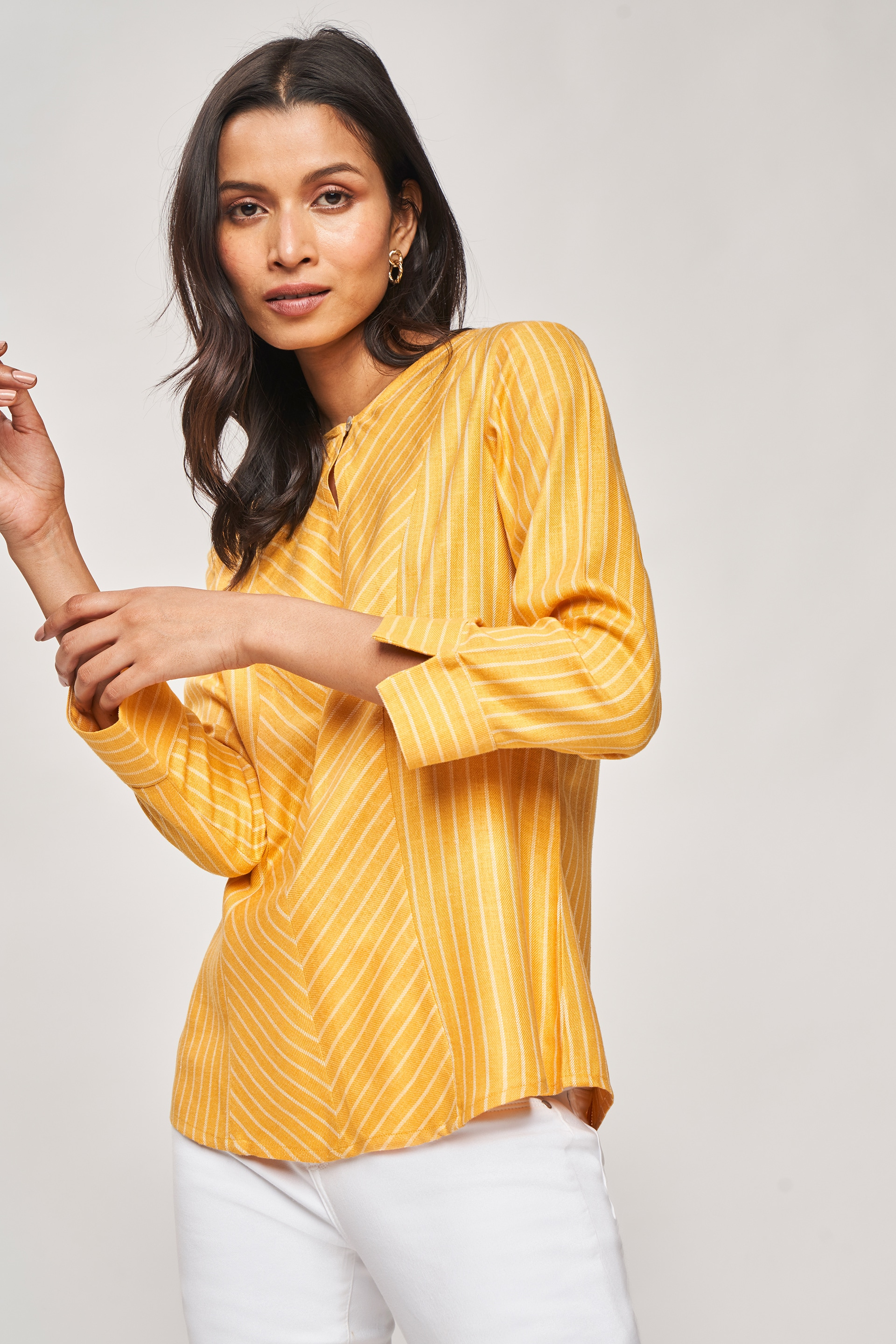 AND | Yellow Striped Fit And Flare Top