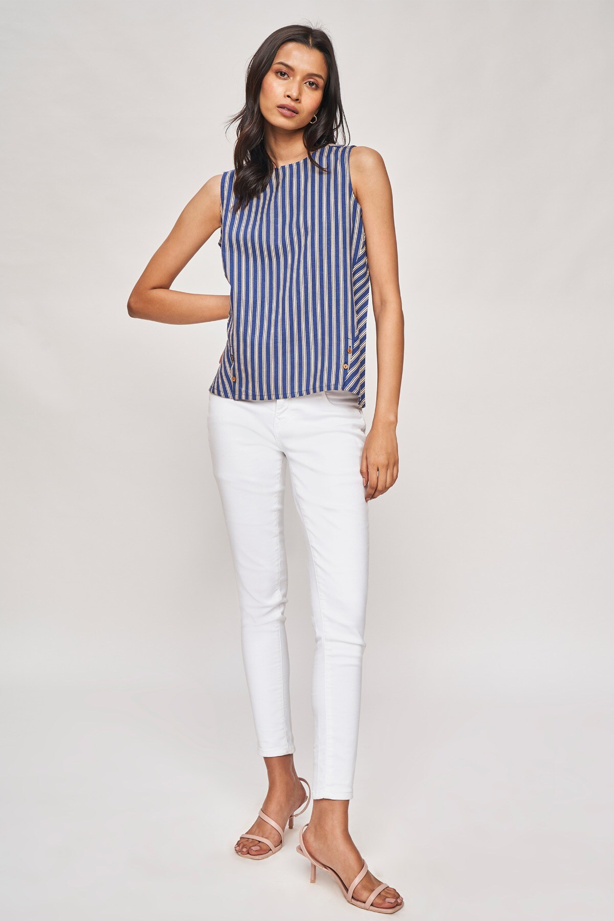 AND   Navy Blue Striped A-Line Top