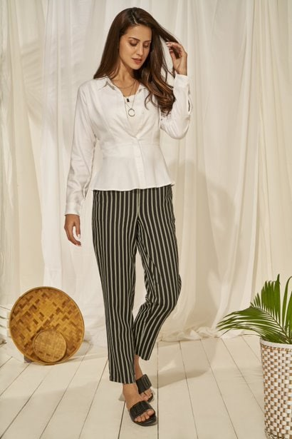 AND | White Solid Fit And Flare Top