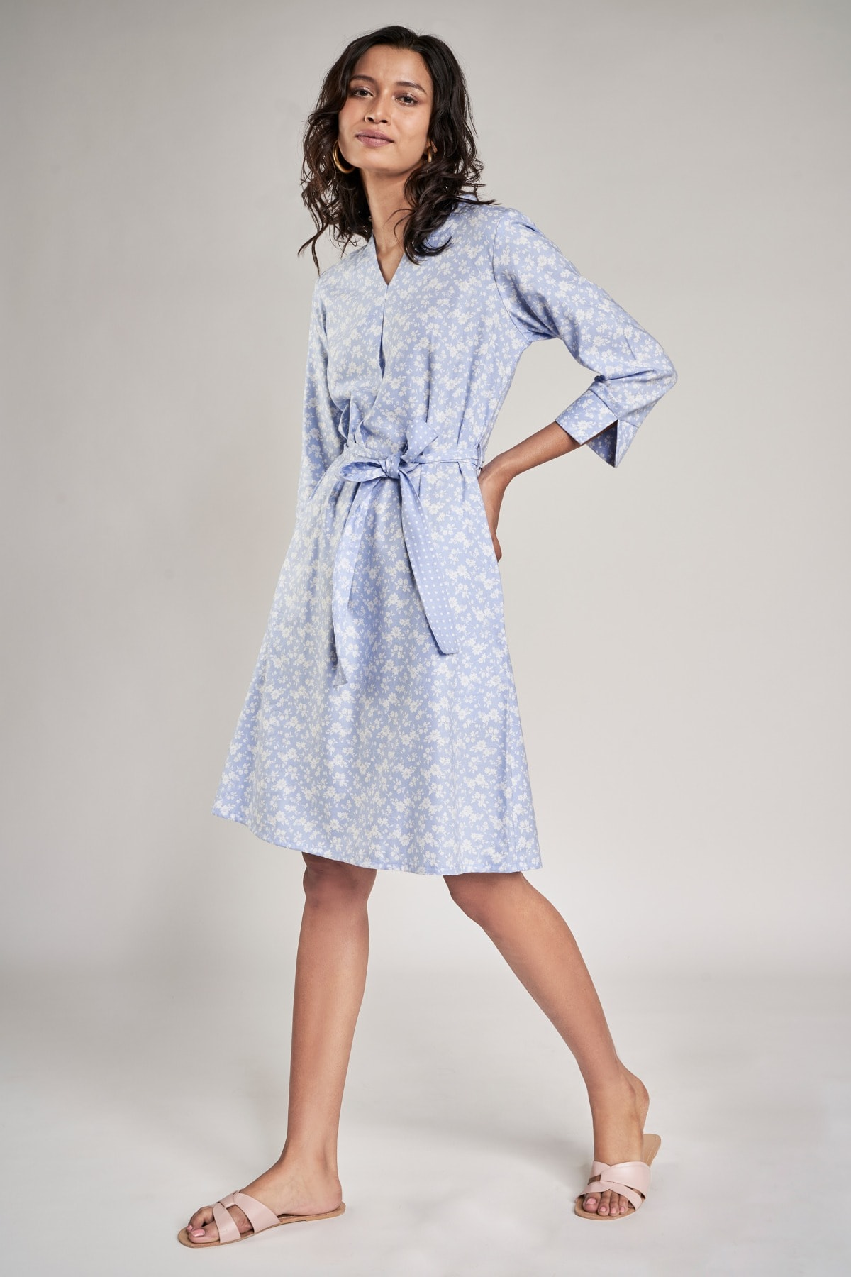 AND   Powder Blue Floral Printed Shift Dress
