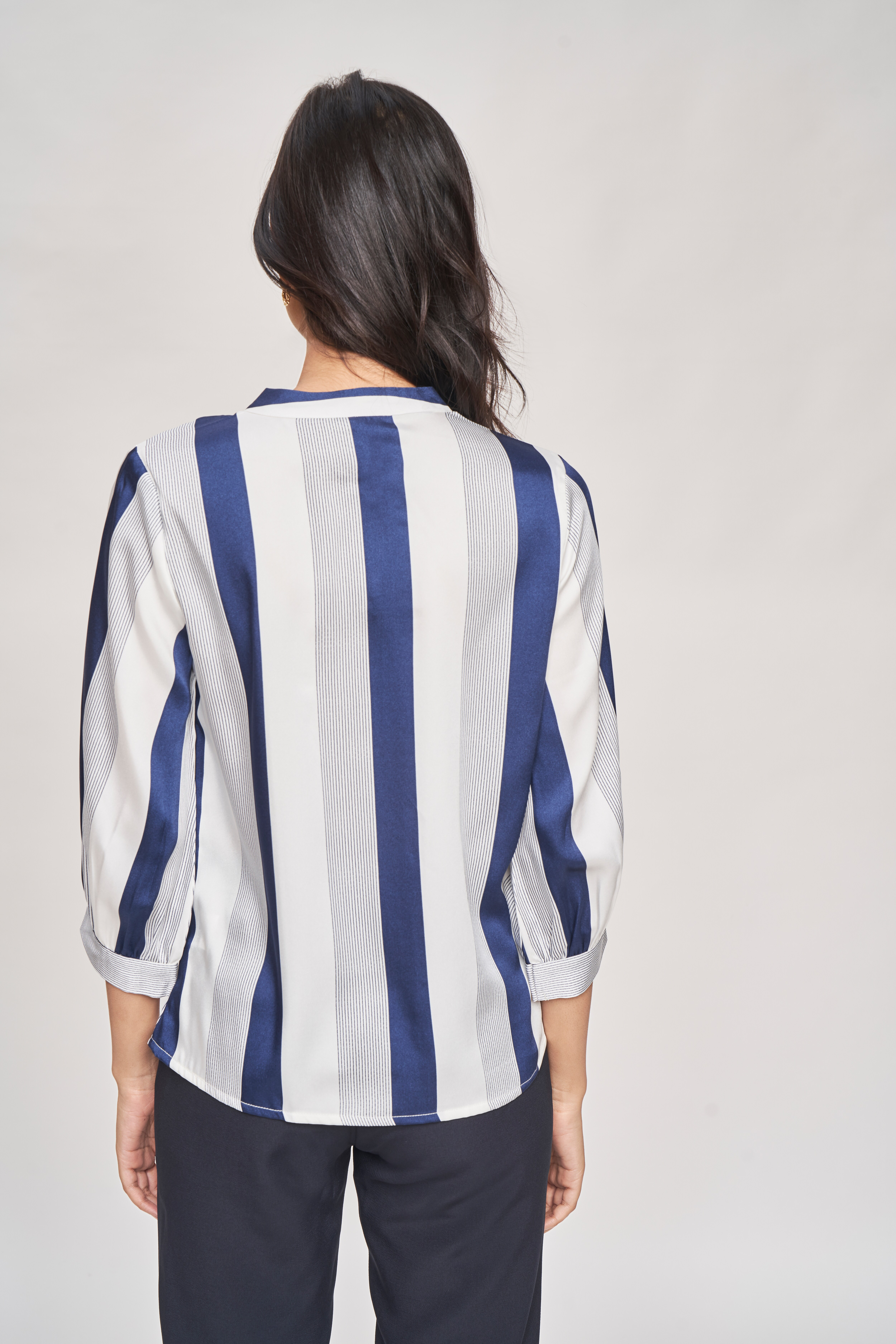 AND   Blue Striped Printed A-Line Top