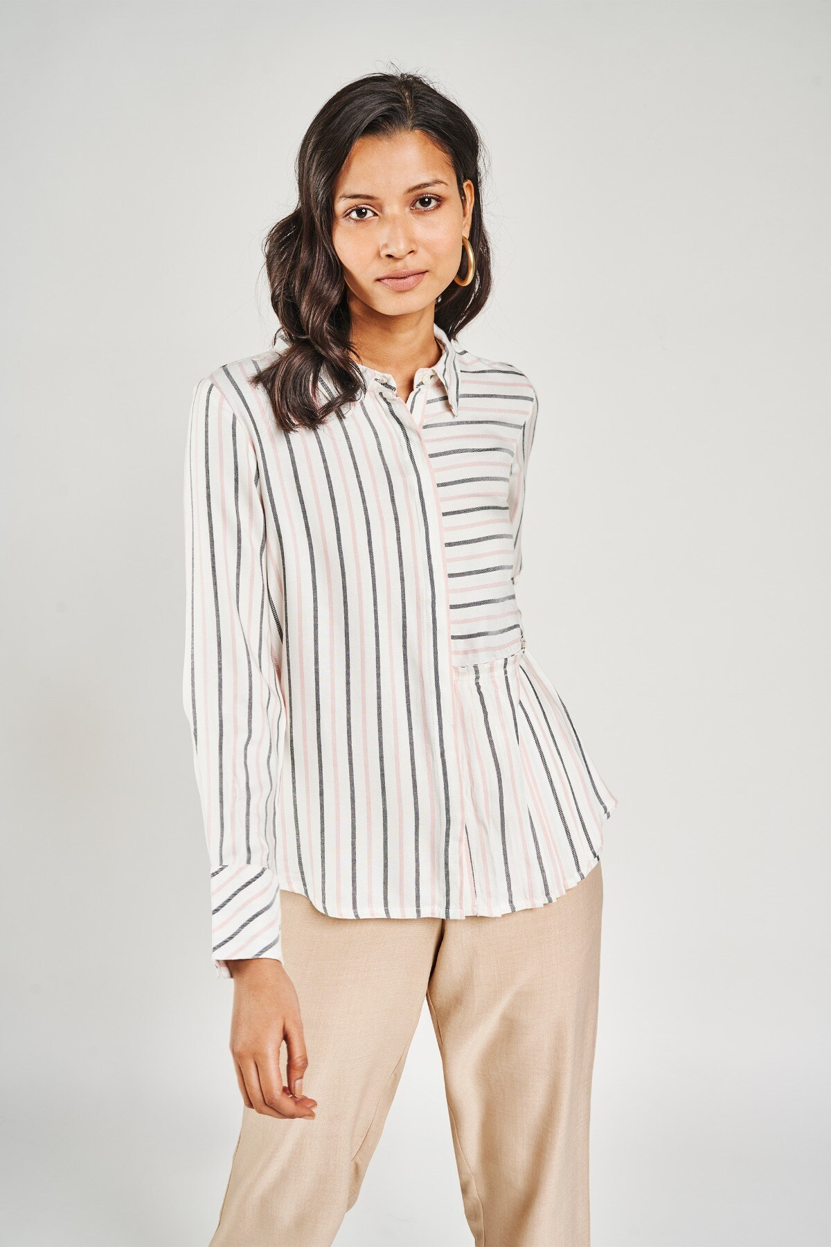 AND | White Striped Fit And Flare Top