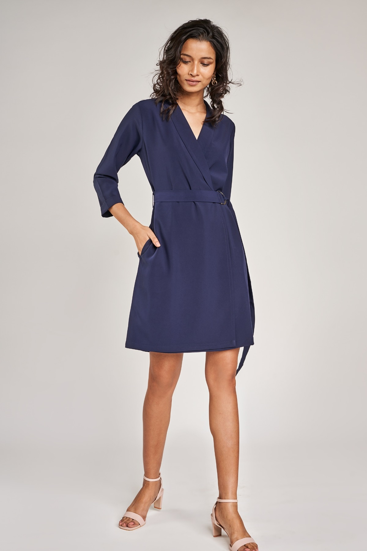 AND | Navy Blue Solid Shift Dress