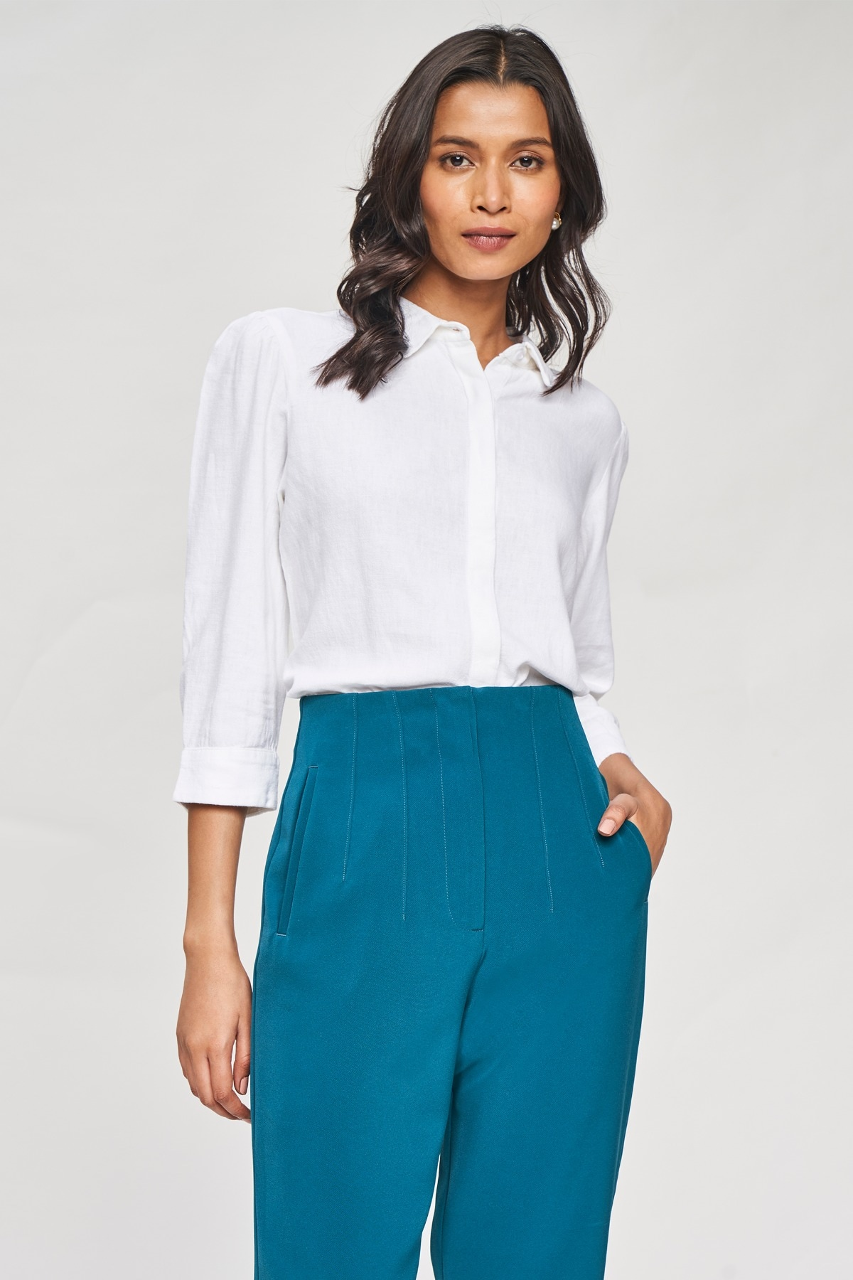 AND   White Solid A-Line Top