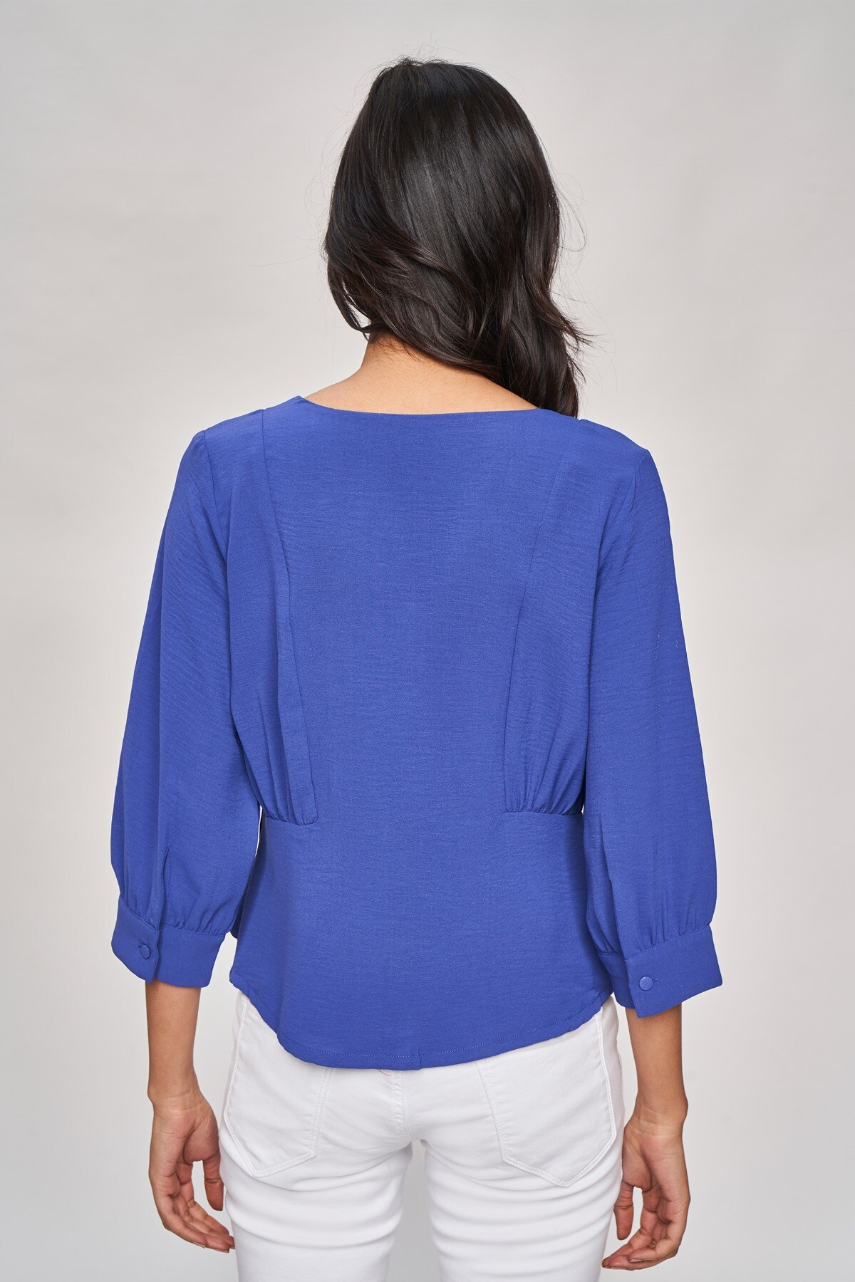 AND | Blue Solid Fit And Flare Top
