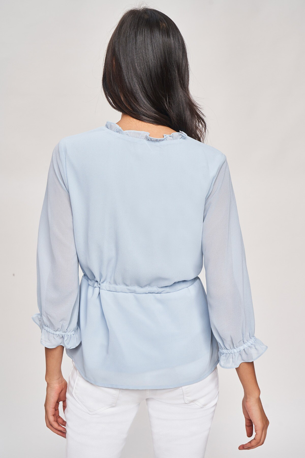 AND   Powder Blue Solid Fit And Flare Top