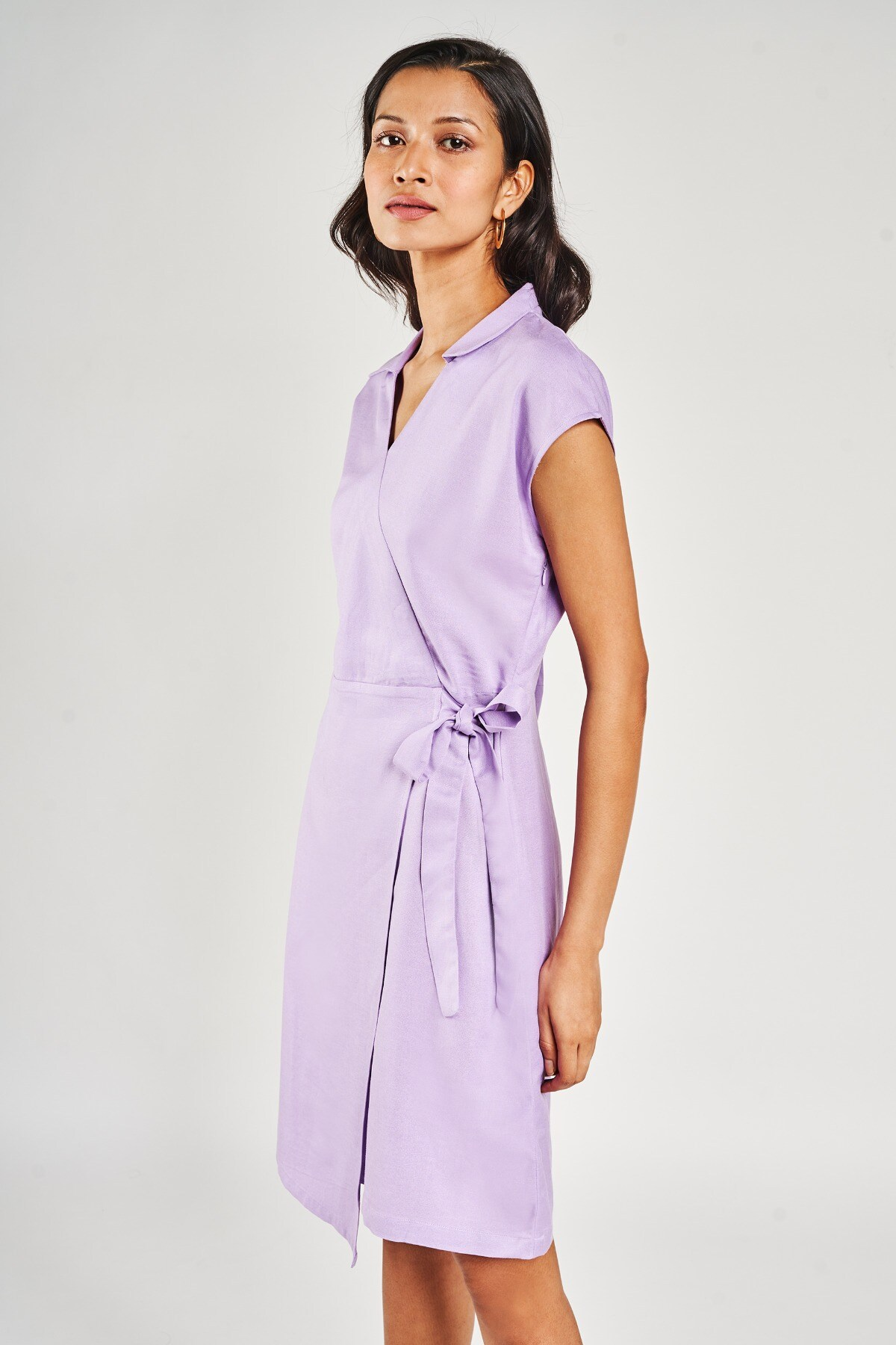 AND | Lilac Solid A-Line Dress