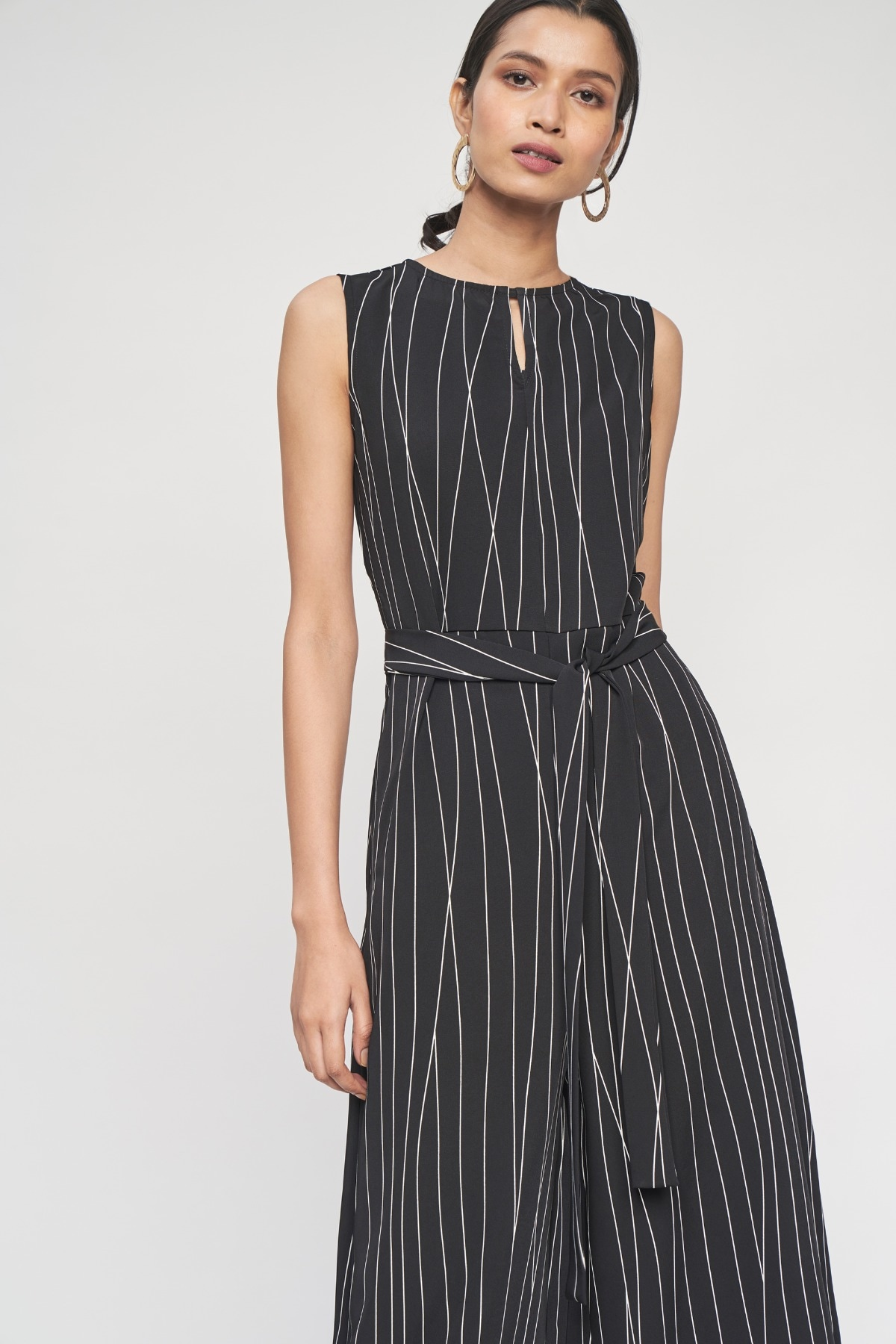 AND   Black Abstract Printed Fit And Flare Jumpsuit