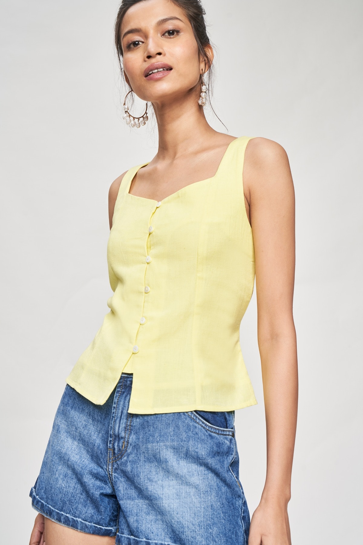 AND   Yellow Solid Tie-Up Top