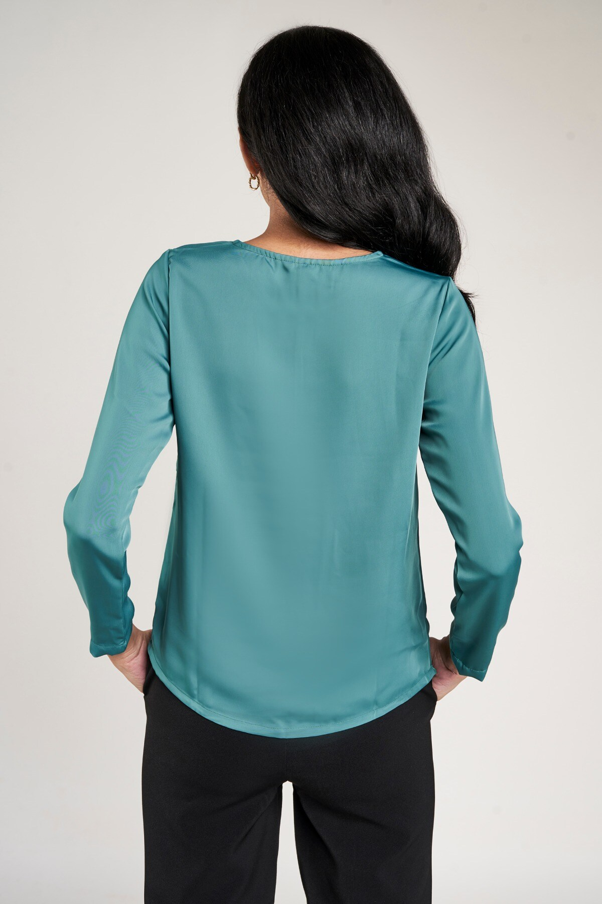 AND   Teal Solid A-Line Top