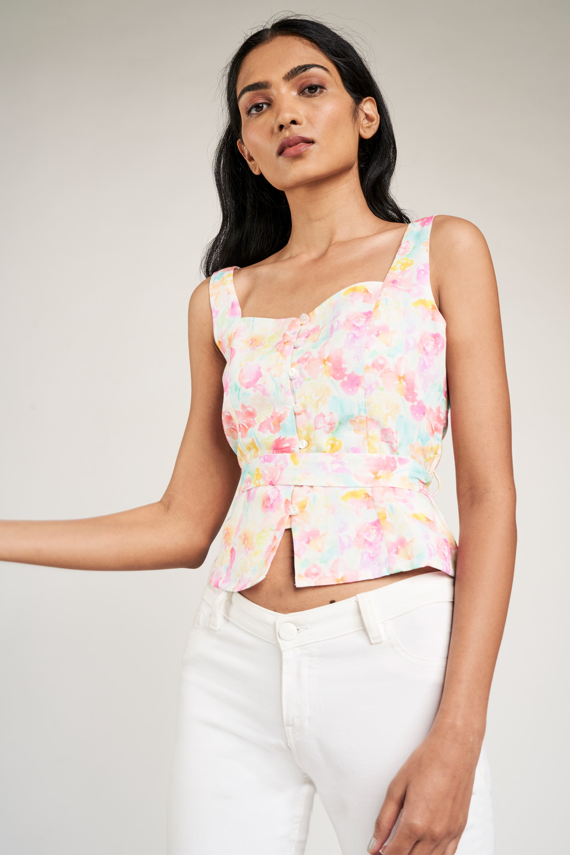 AND | Multi Color Floral Printed Fit & Flare Top