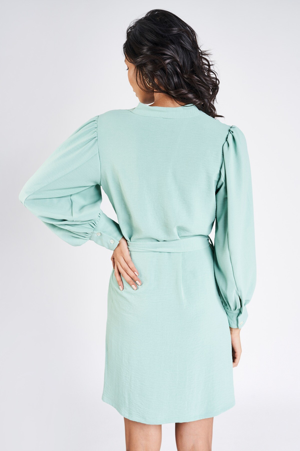 AND | Teal Solid A-Line Dress