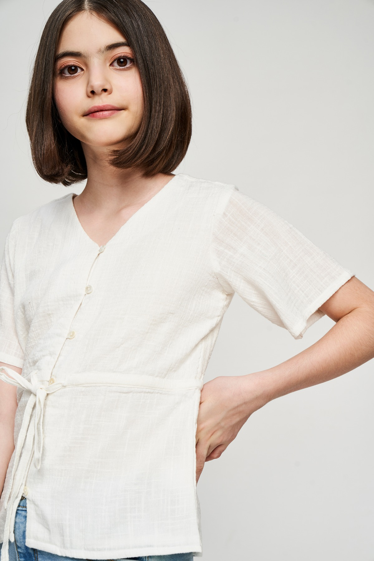 AND | White Self Design Fit And Flare Top