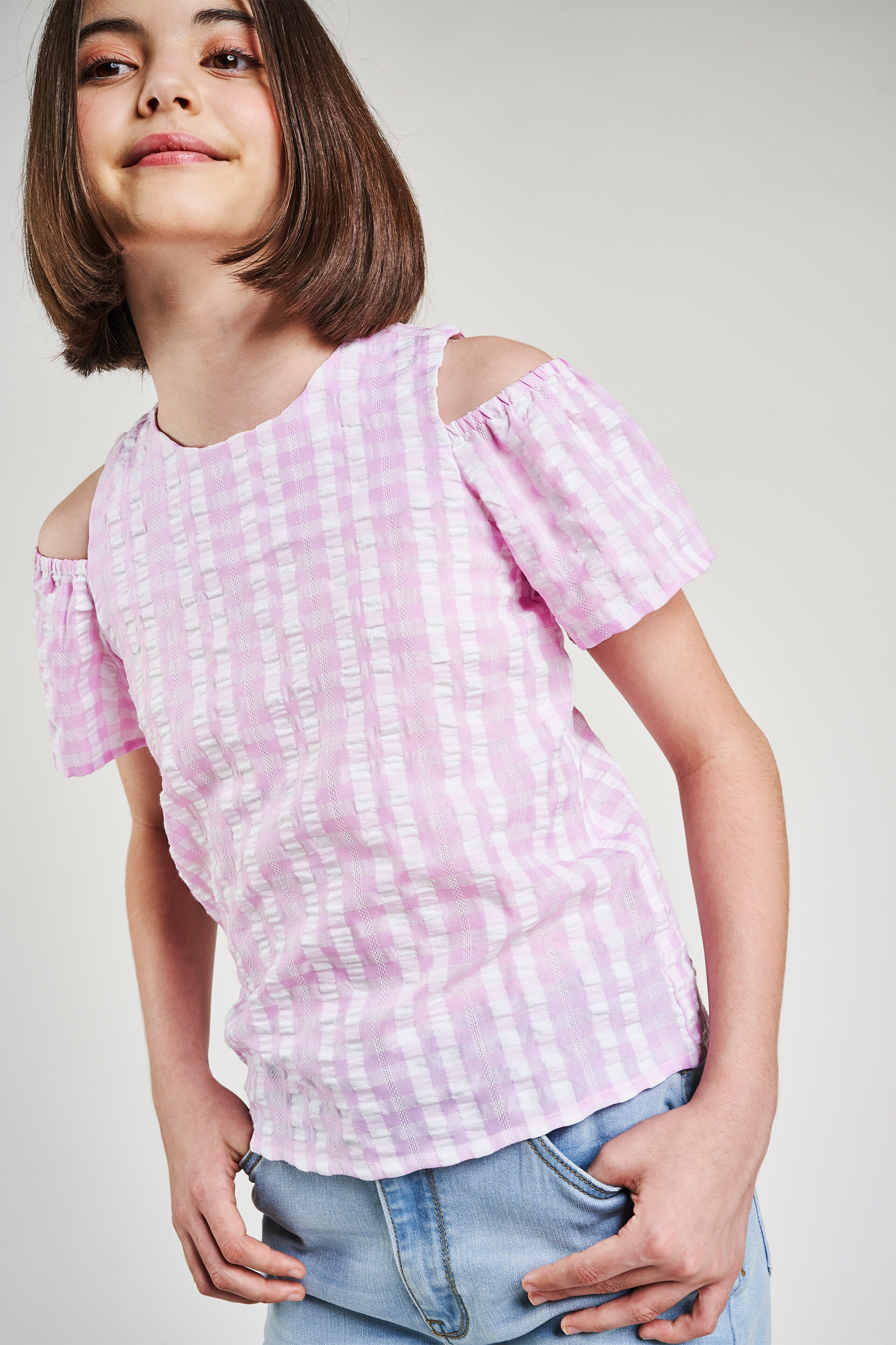 AND | Pink Checked A-Line Top