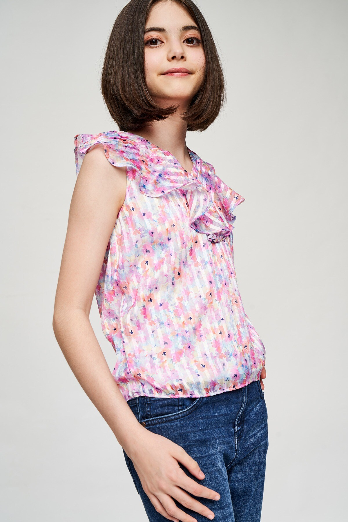 AND   Multi Color Floral Printed A-Line Top