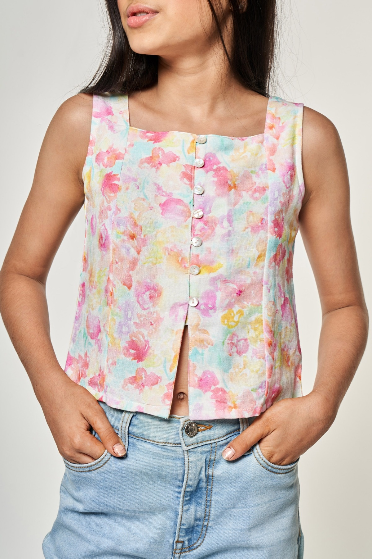 AND | Multi Color Floral Printed A-Line Top