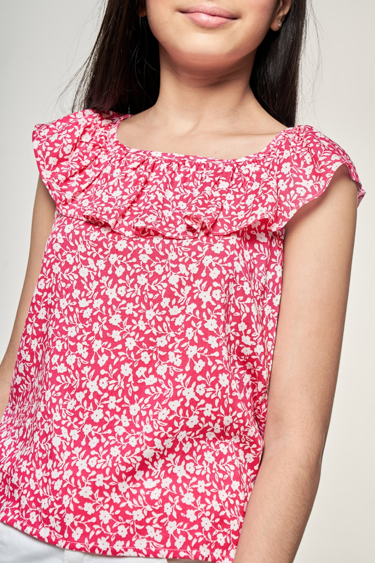 AND | Pink Floral Printed A-Line Top