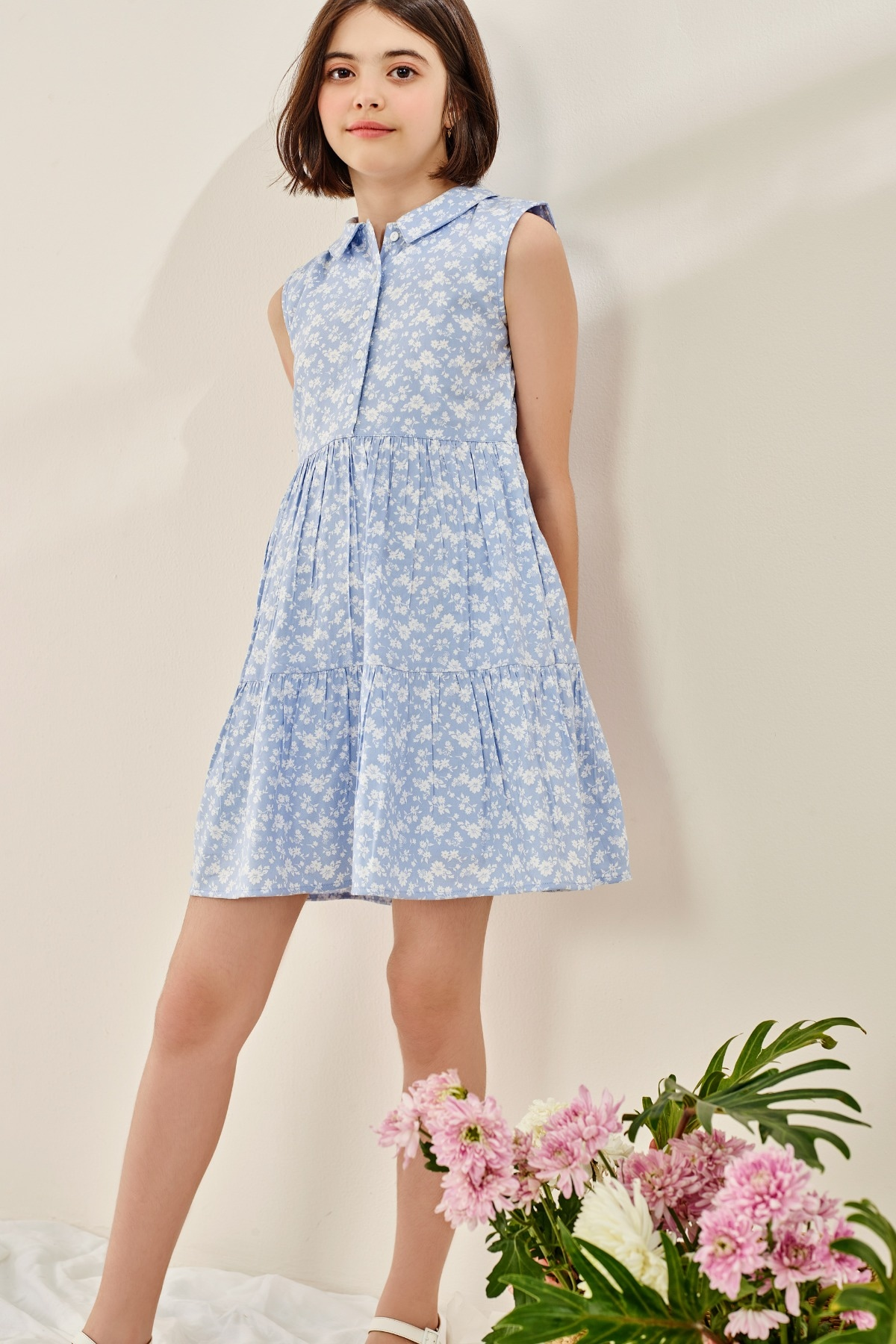 AND | Powder Blue Floral Printed Fit And Flare Dress