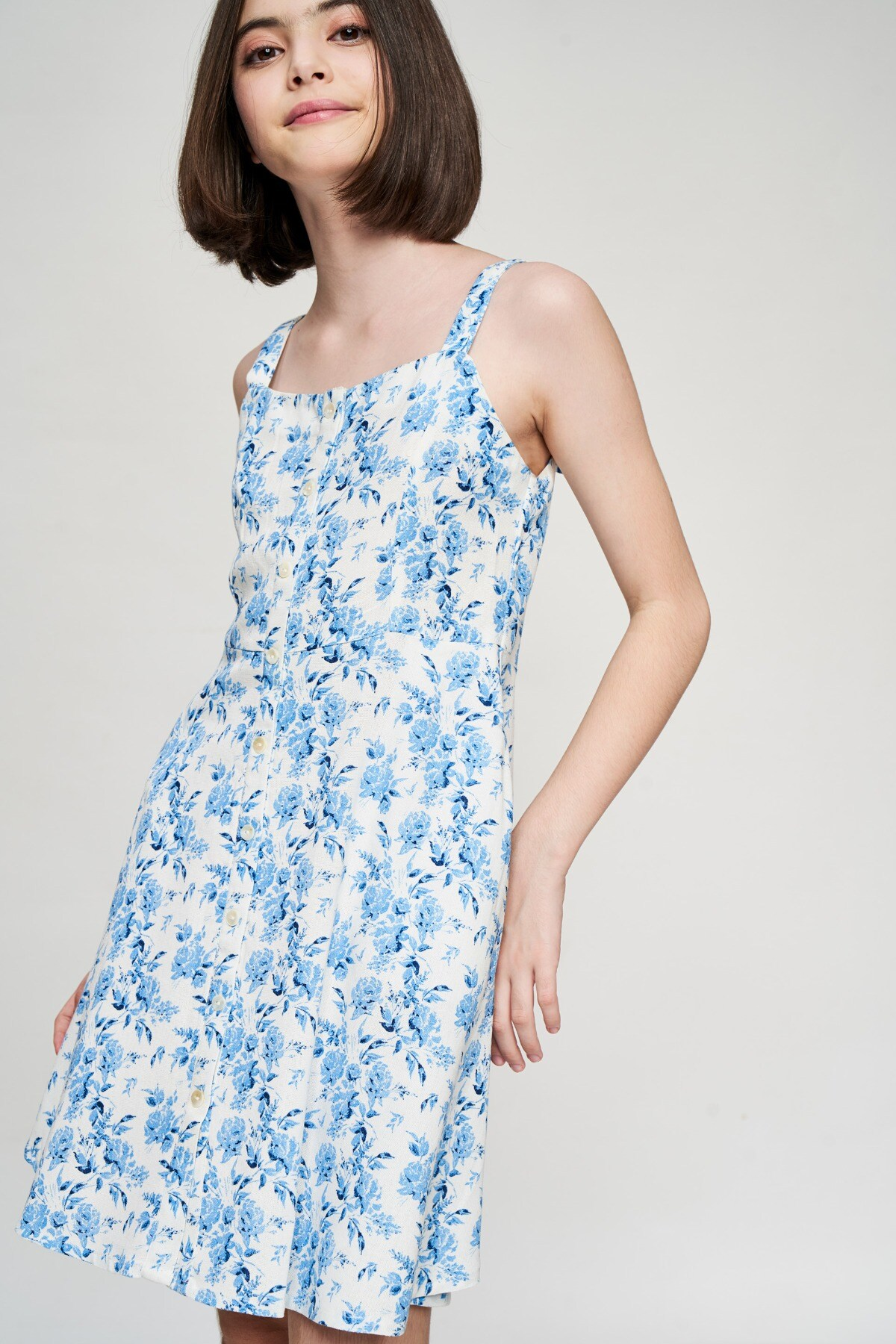AND | Blue Floral Printed Fit And Flare Dress