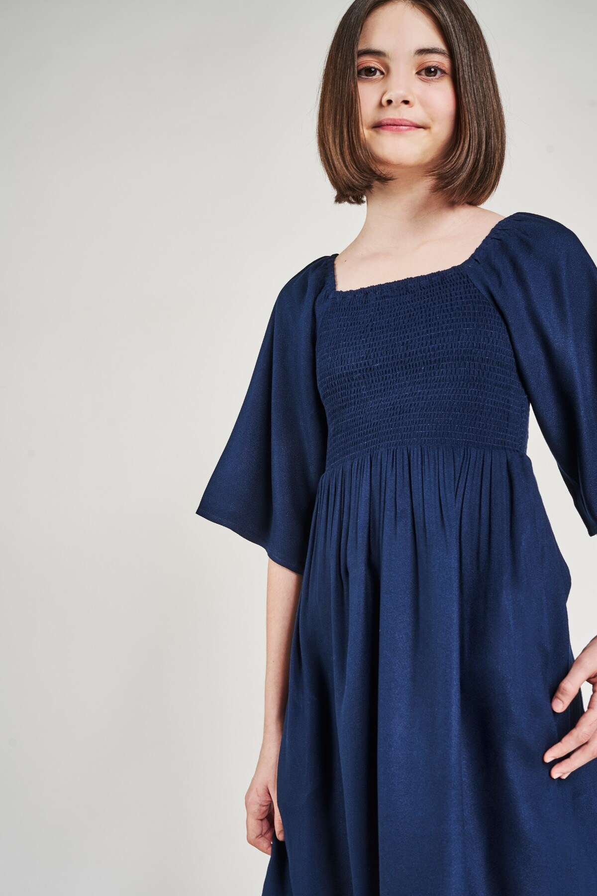 AND | Navy Blue Geometric Off Shoulder Dress
