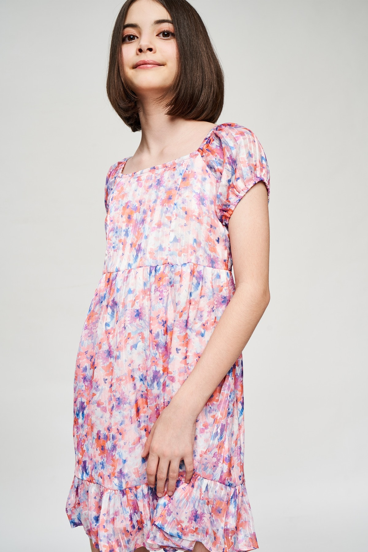 AND | Multi Color Floral Printed Fit And Flare Dress