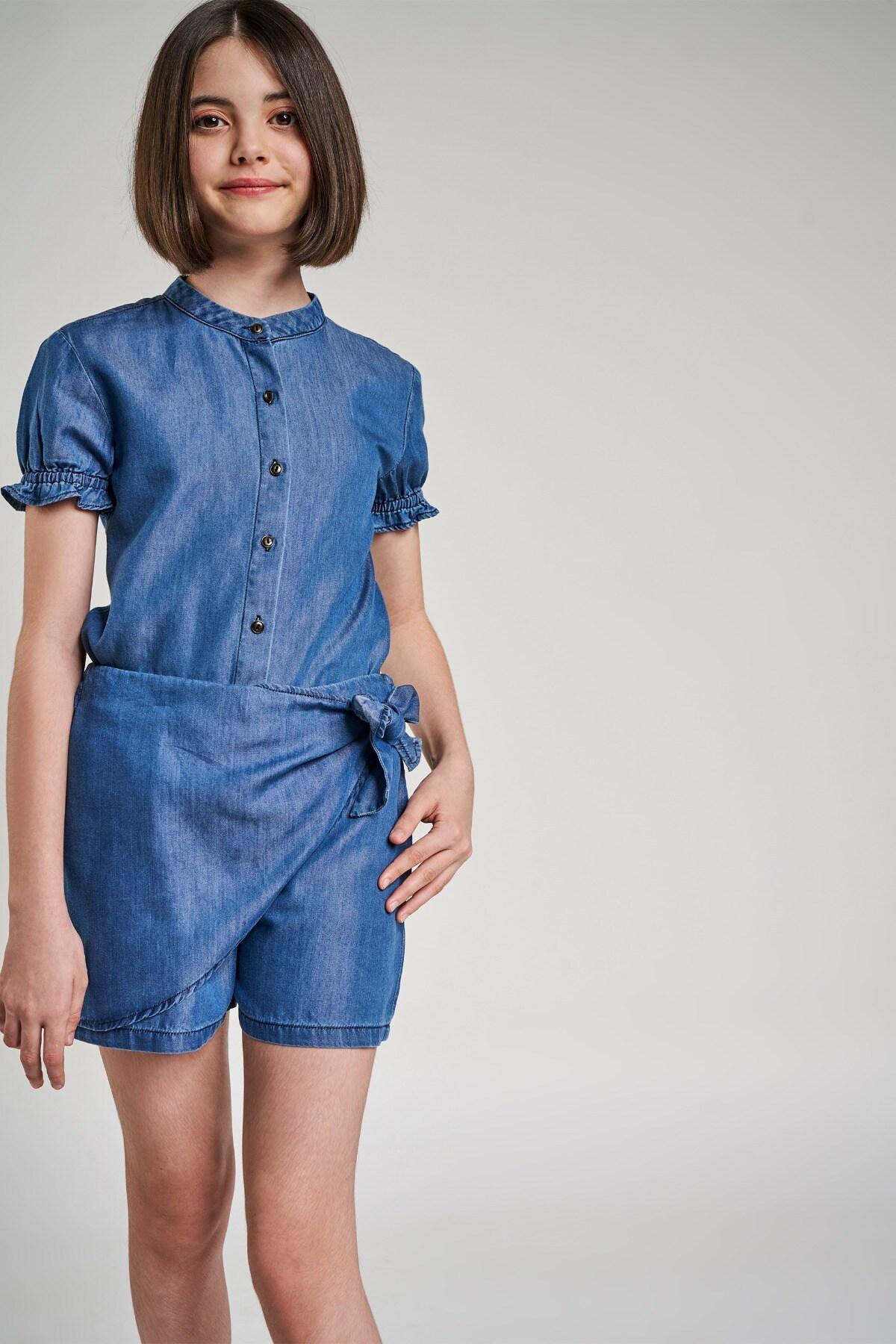 AND | Indigo Blue Solid Shirters Co-Ordinate  Set