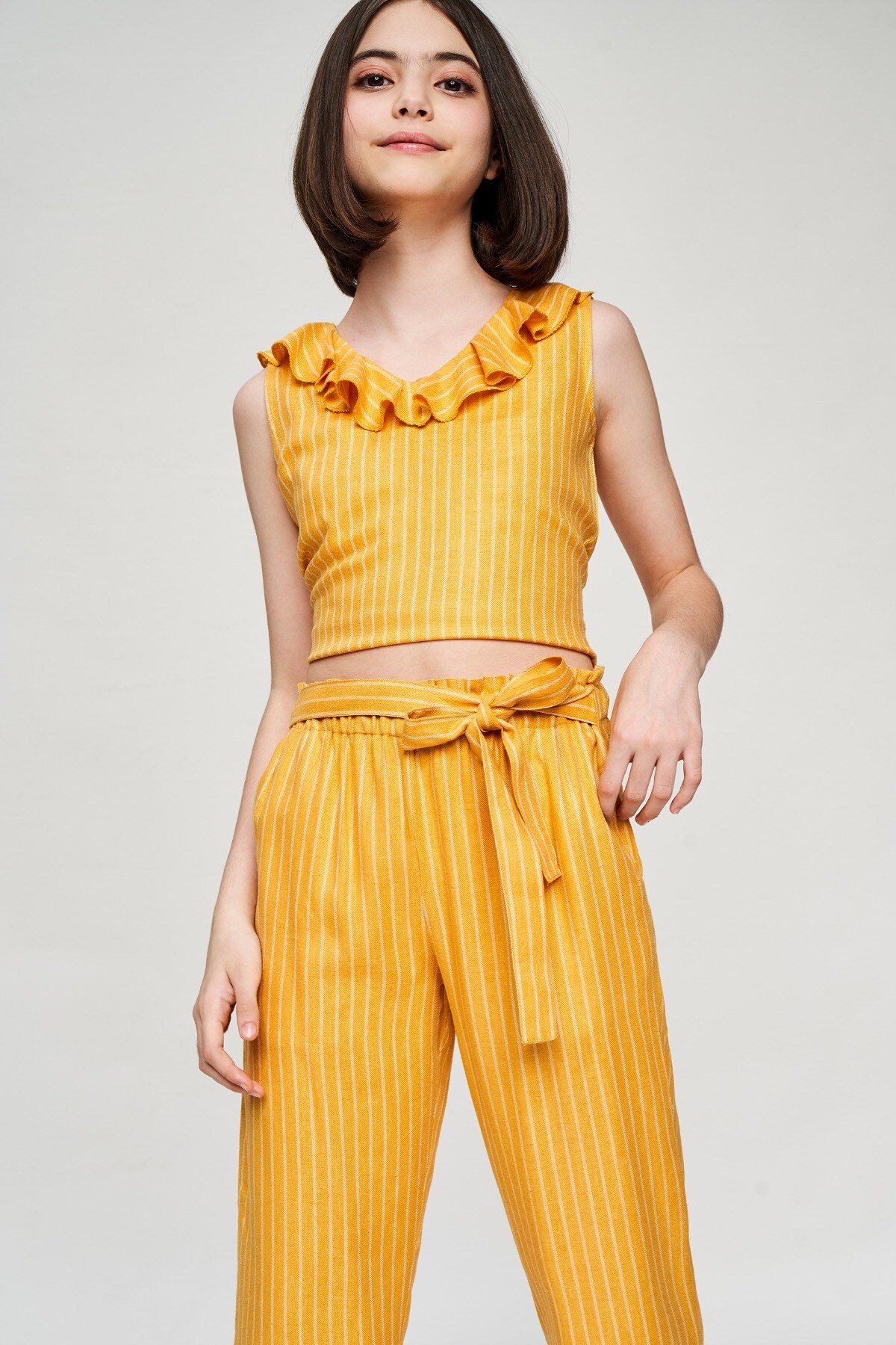 AND | Yellow Striped Printed Cropped Co-Ordinate  Set