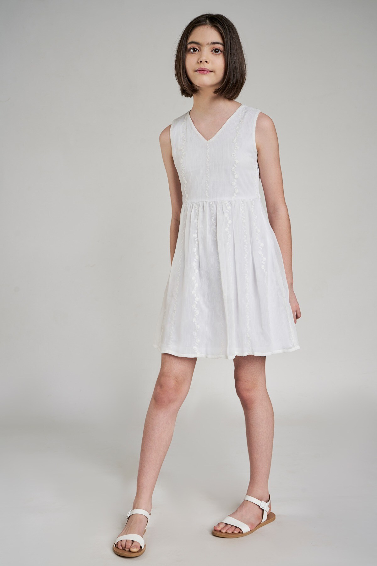 AND | White Self Design Fit And Flare Dress