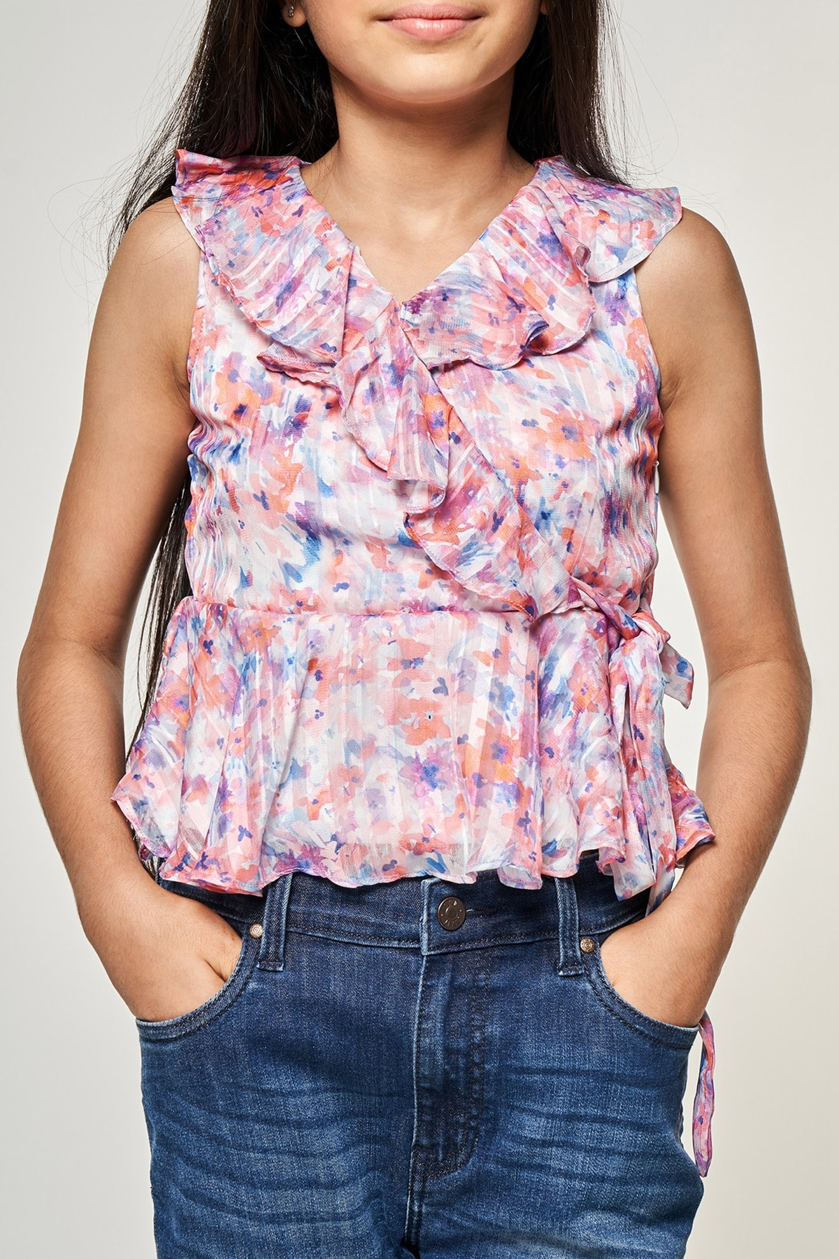 AND | Multi Color Floral Printed Peplum Top