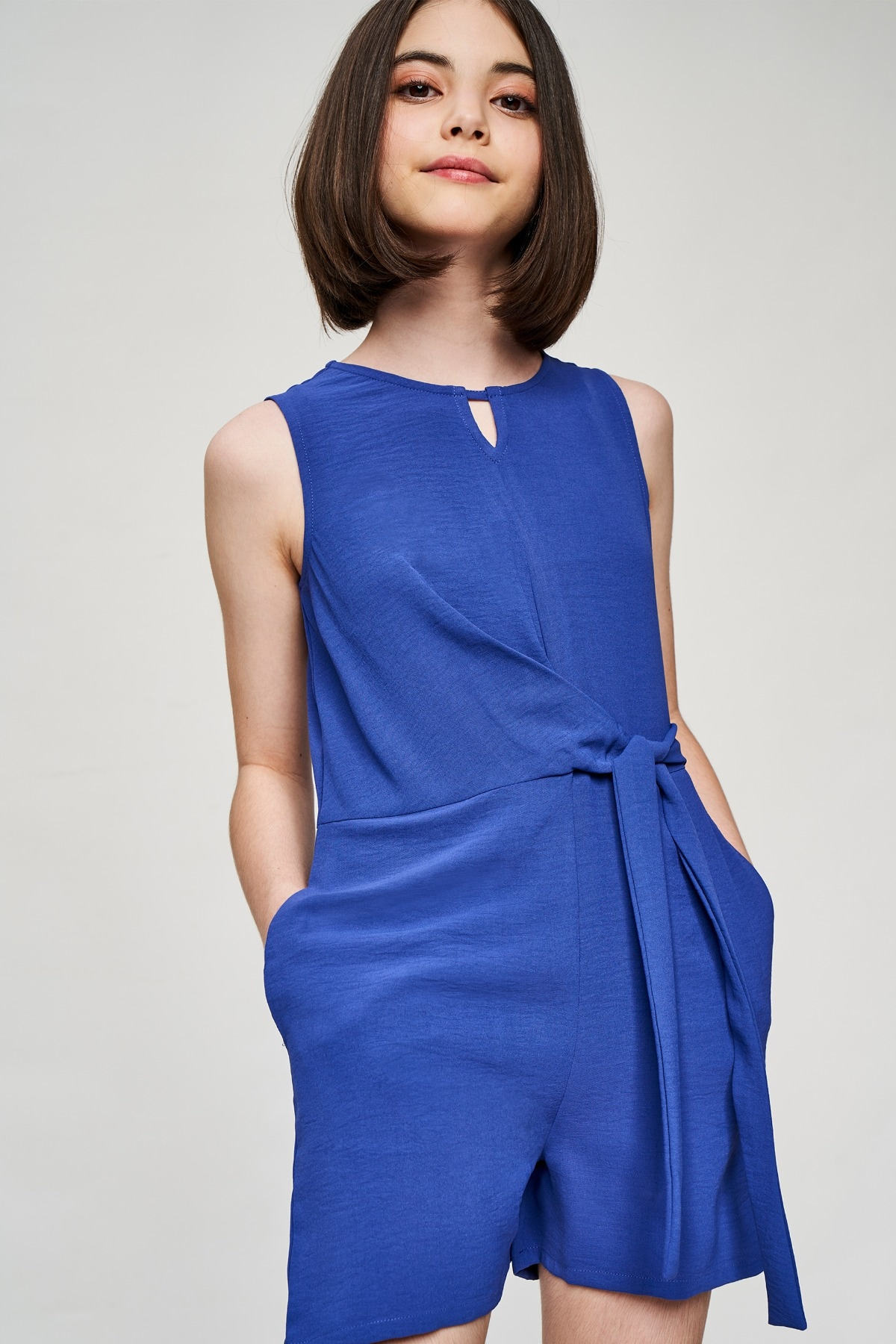 AND | Blue Solid Fit And Flare Jumpsuit