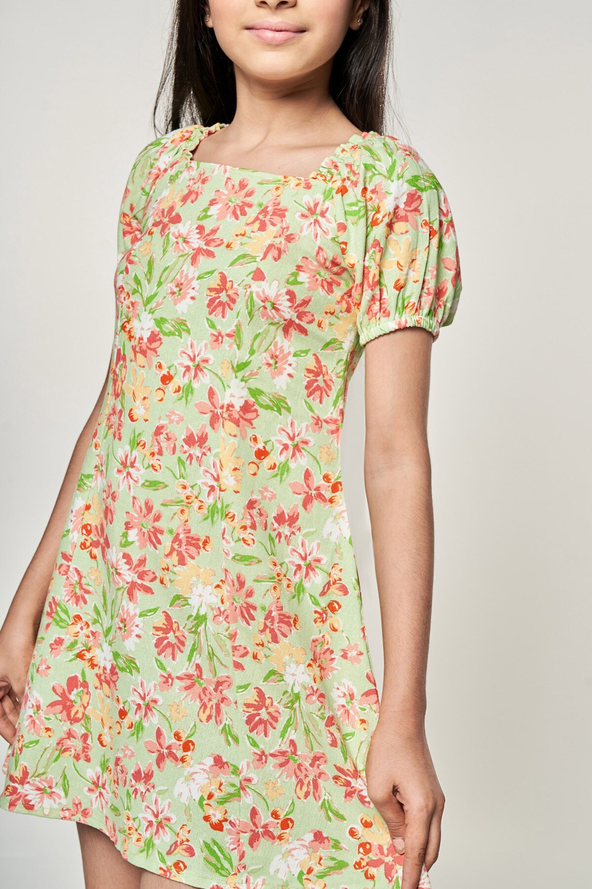 AND | Lime Floral Printed Fit And Flare Dress