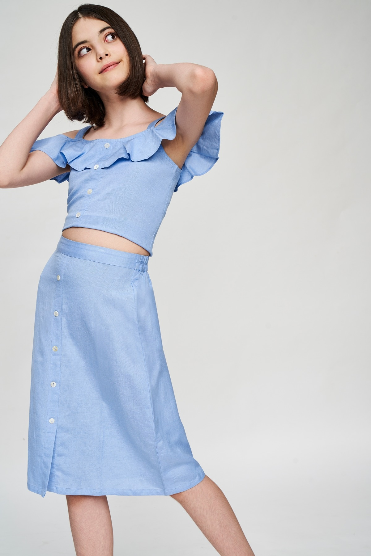 AND | Powder Blue Solid Cropped Co-Ordinate Set
