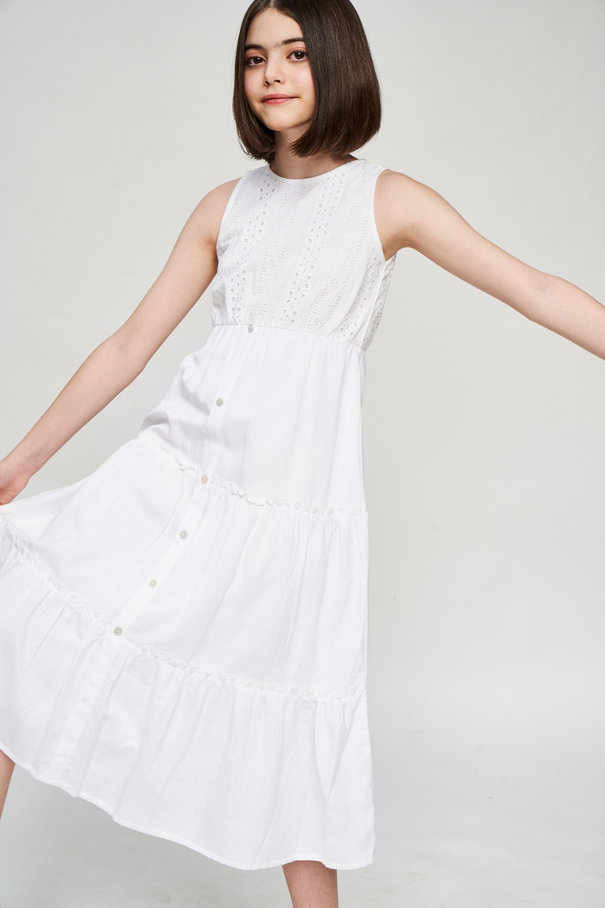AND | White Solid Fit And Flare Dress