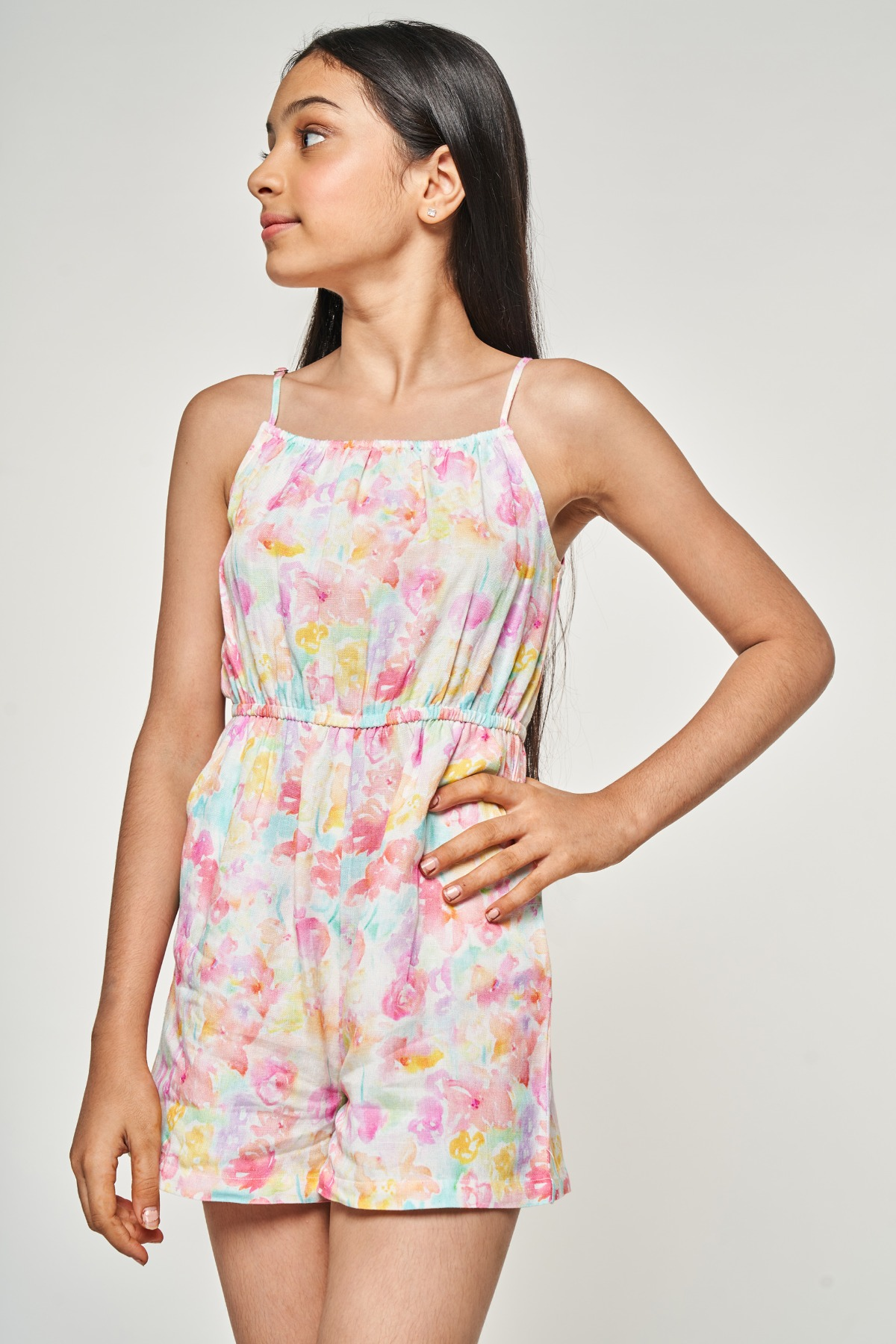 AND | Multi Color Floral Printed Fit And Flare Jumpsuit