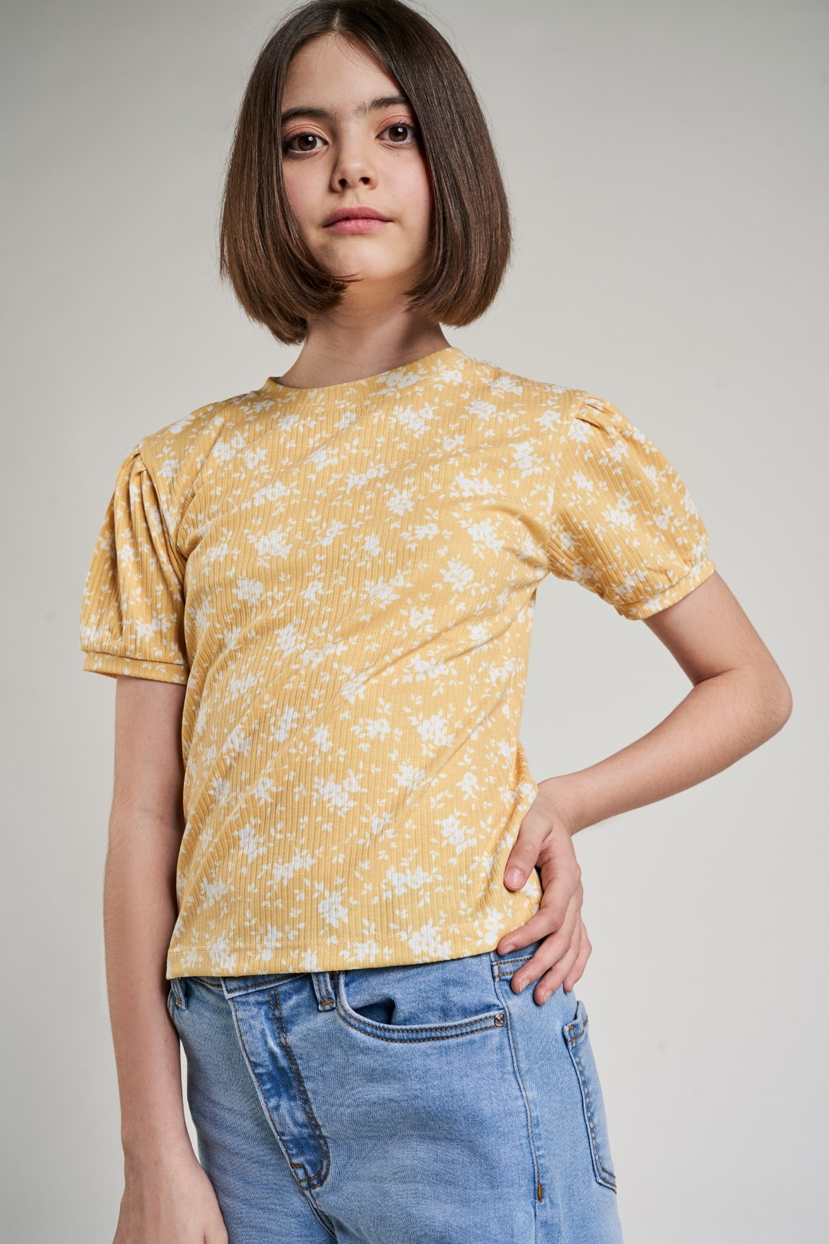 AND | Yellow Floral Printed A-Line Top