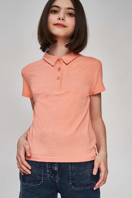 AND | Peach Self Design A-Line Top