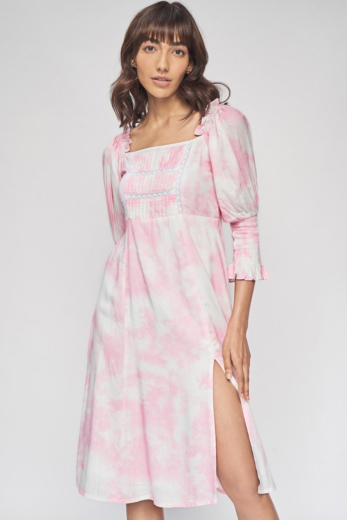 AND | Pink Regular Tie & Dye Straight Dress