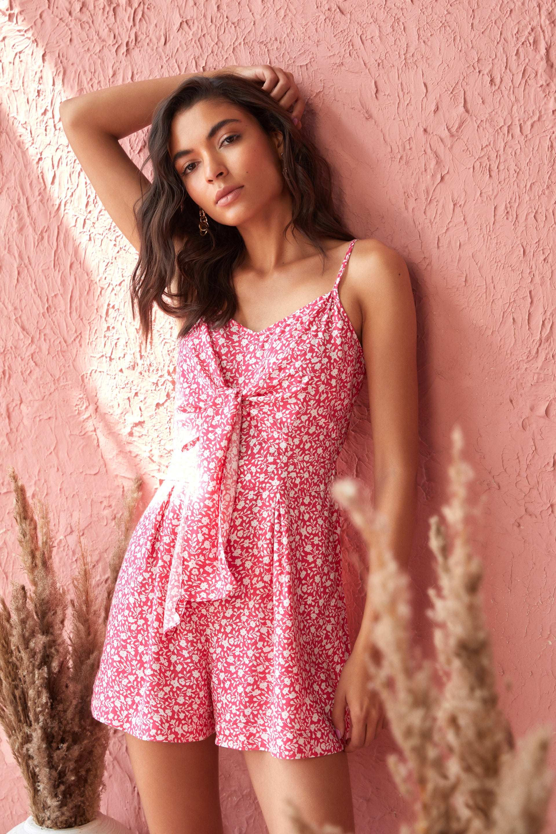 AND   Pink Short Length Floral Jumpsuit
