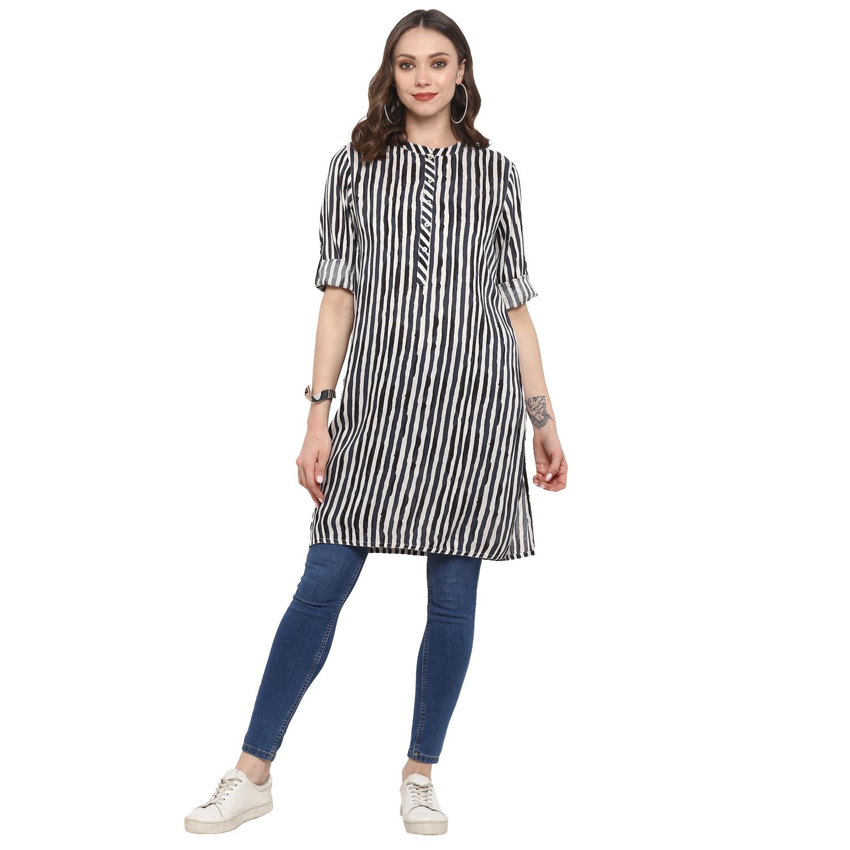 ANTARAN | Grey Striped Straight Kurta