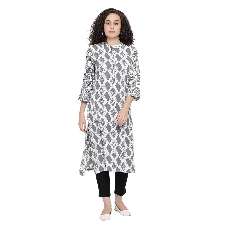 ANTARAN   Grey Batik Straight Kurta