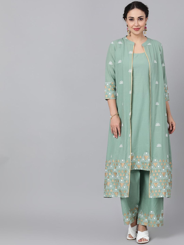 ANTARAN | Women Green Solid Kurta with Trousers