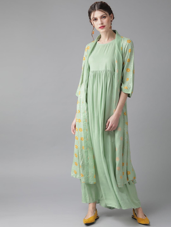ANTARAN | Women Green & Mustard Yellow Printed Layered Maxi Dress