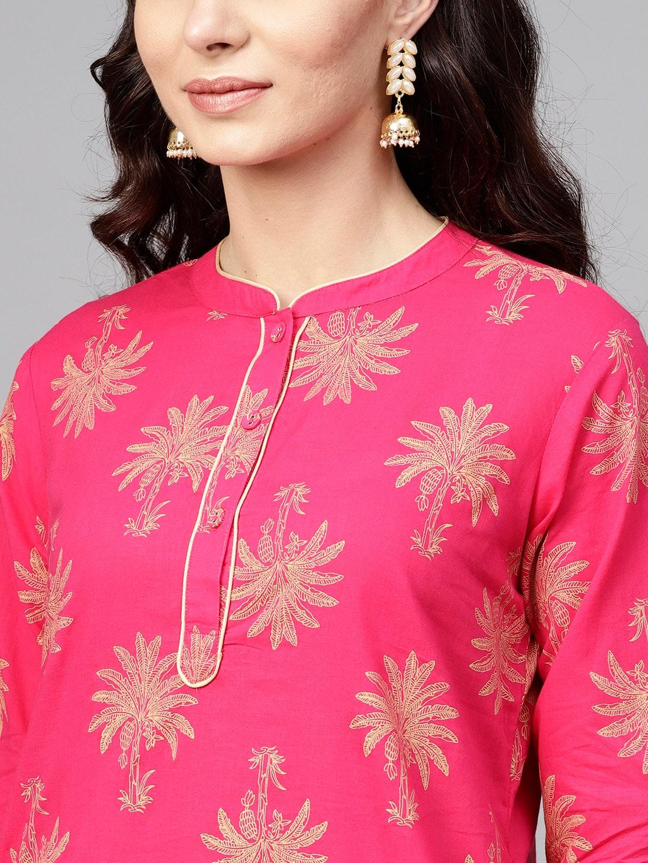 ANTARAN | Women Pink Printed Kurta with Salwar