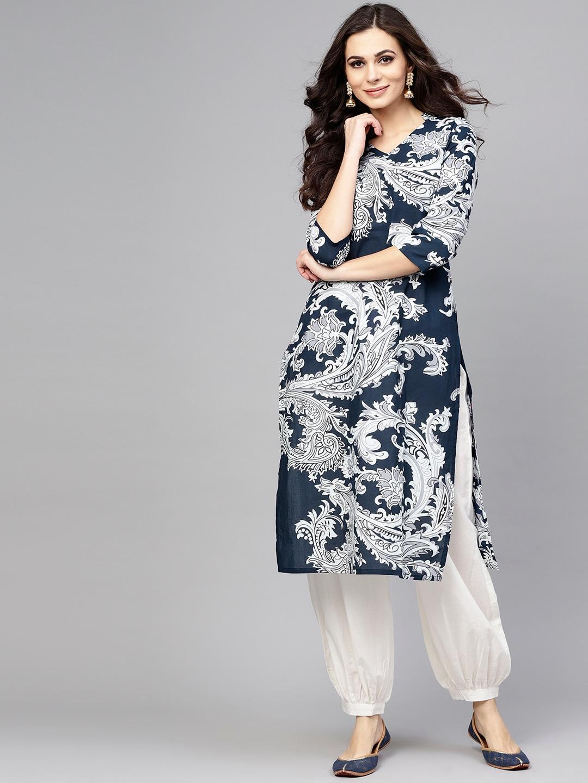 ANTARAN | Women Navy Blue & White Printed Kurta with Salwar