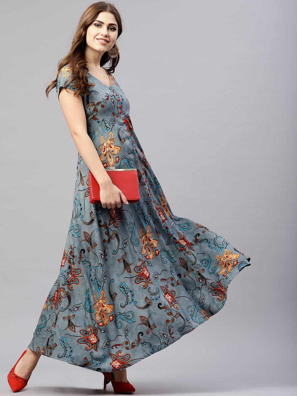 ANTARAN | Women Grey Printed Maxi Dress